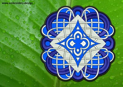 This Marine Celtic Knot patch, transparent background design was digitized and embroidered by www.embroidery.design.