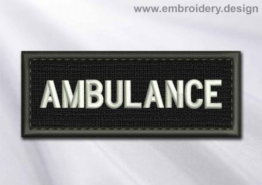 This Medical Patch Ambulance in rectangle with borders design was digitized and embroidered by www.embroidery.design.
