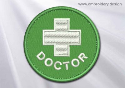 This Medical Patch Doctor with white cross in a circle design was digitized and embroidered by www.embroidery.design.