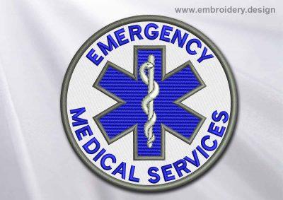 This Medical Patch Emergency Medical Services with Star of life in a circle design was digitized and embroidered by www.embroidery.design.
