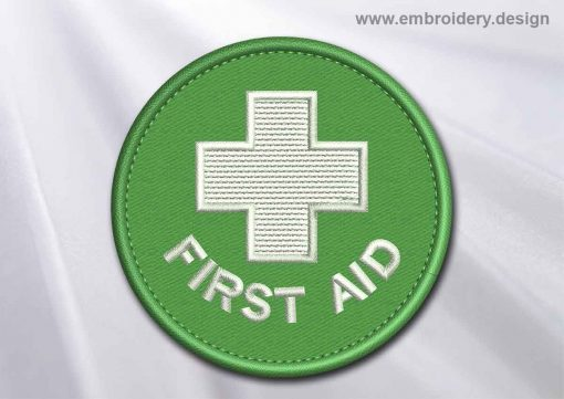 This Medical Patch First Aid with white cross in a circle design was digitized and embroidered by www.embroidery.design.