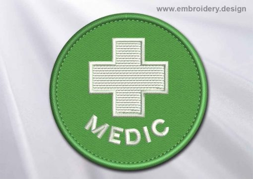 This Medical Patch Medic with white cross in a circle design was digitized and embroidered by www.embroidery.design.