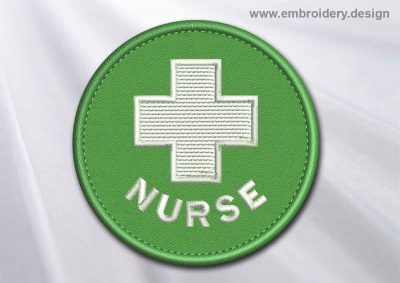 This Medical Patch Nurse with white cross in a circle design was digitized and embroidered by www.embroidery.design.