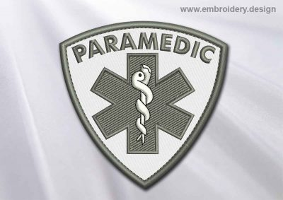 This Medical Patch Paramedic with Star of life design was digitized and embroidered by www.embroidery.design.