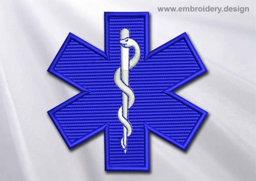 This Medical Patch Star of Life design was digitized and embroidered by www.embroidery.design.