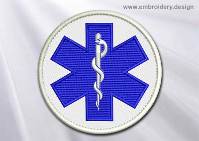 This Medical Patch Star of Life in a circle design was digitized and embroidered by www.embroidery.design.