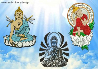 This Meditating Buddhas embroidery designs pack design was digitized and embroidered by www.embroidery.design.