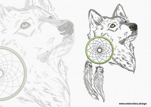 This Meditative wolf design was digitized and embroidered by www.embroidery.design.
