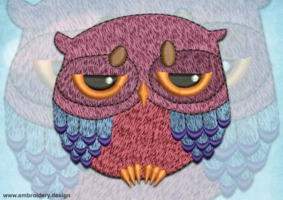 This Melancholy owl design was digitized and embroidered by www.embroidery.design.