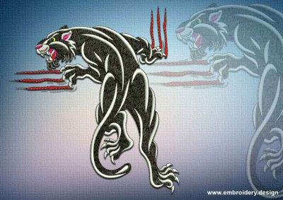 This Merciless panther design was digitized and embroidered by www.embroidery.design.