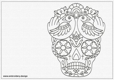 The embroidery design Mexican skull is very simple in embroidering due to monochromatic run stiching elements.