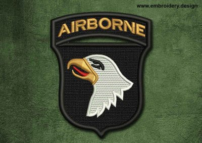 This Military, Security Patch Airborne design was digitized and embroidered by www.embroidery.design.