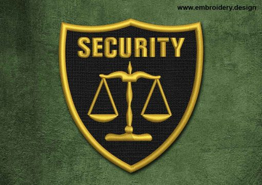 This Military, Security Patch Security With Scales design was digitized and embroidered by www.embroidery.design.
