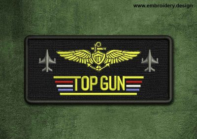 This Military, Security Patch Top Gun design was digitized and embroidered by www.embroidery.design.