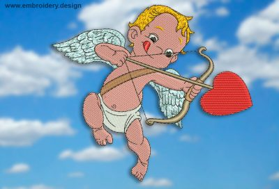 This Mischievous Cupid design was digitized and embroidered by www.embroidery.design.