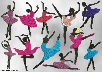 This Moving ballerinas' silhouettes embroidery designs pack design was digitized and embroidered by www.embroidery.design.