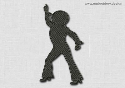 This Music Patch Black Disco Dancer design was digitized and embroidered by www.embroidery.design.