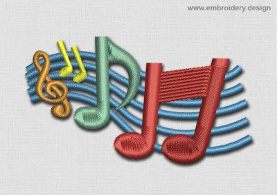 This Music Patch Colored Notes design was digitized and embroidered by www.embroidery.design.