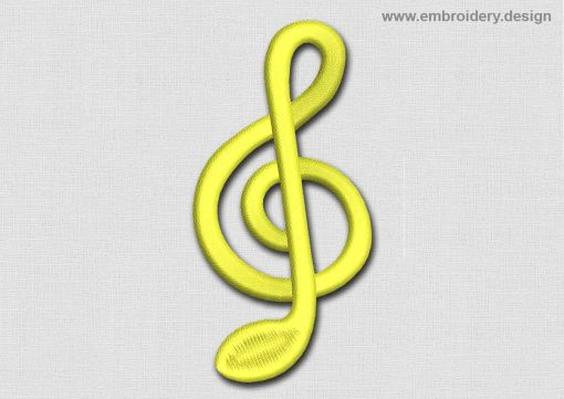 This Music Patch Gold Treble Clef design was digitized and embroidered by www.embroidery.design.