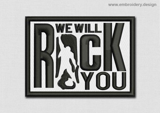 This Music Patch We Will Rock You design was digitized and embroidered by www.embroidery.design.