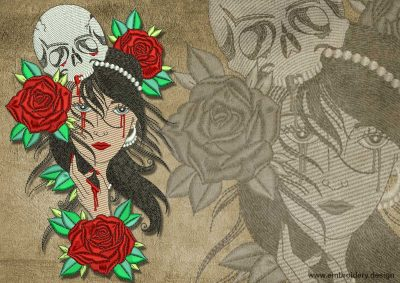 This Mystical Gypsy with roses and skull design was digitized and embroidered by www.embroidery.design.