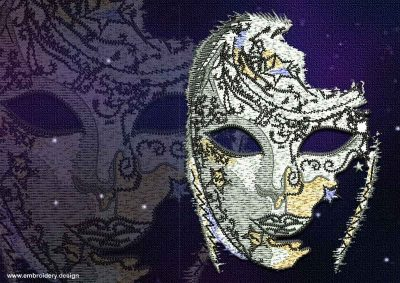 This Mystical Venetian mask design was digitized and embroidered by www.embroidery.design.