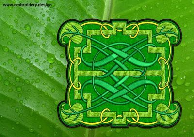 This Natural Celtic Knot patch, transparent background design was digitized and embroidered by www.embroidery.design.