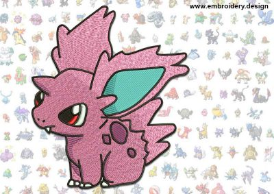 This Nidoran Pokemon design was digitized and embroidered by www.embroidery.design.