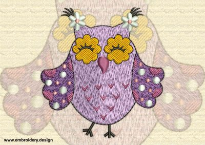 This Nifty owl design was digitized and embroidered by www.embroidery.design.