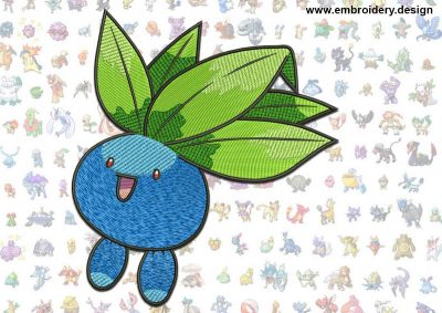 This Oddish Pokemon design was digitized and embroidered by www.embroidery.design.