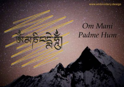 This Om Mani Padme Hum mantra on gold background design was digitized and embroidered by www.embroidery.design.