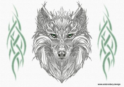 This Openwork tribal wolf design was digitized and embroidered by www.embroidery.design.