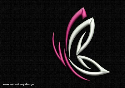 The embroidery design Outline magenta butterfly