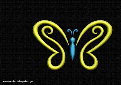 The embroidery design Outline yellow-blue butterfly