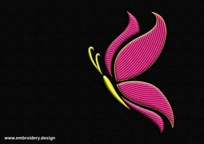 The embroidery design Outline yellow-pink butterfly