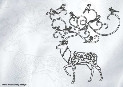 The embroidery design Outline deer with birds