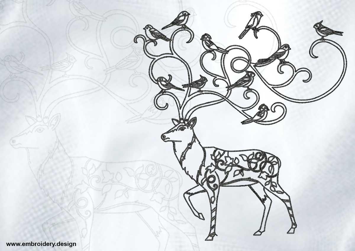 Outline deer with birds