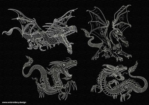 This Outline dragons in backstitch style pack #1 design was digitized and embroidered by www.embroidery.design.