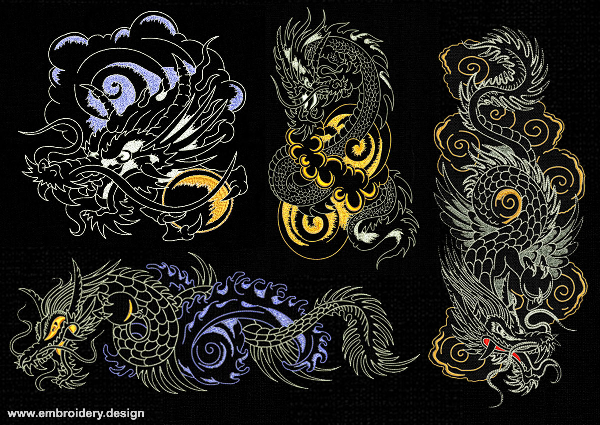 Outline Dragons In Backstitch Style Pack Embroidery