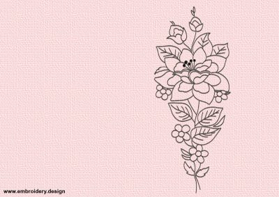 The embroidery design Outline flower will become nice decoration of apparel and interior textile.