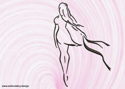 The embroidery design Outline silhouette of girl is quickly and easily stitch out