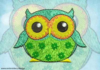 This Owl decorated with flowers design was digitized and embroidered by www.embroidery.design.