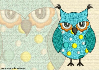 This Owl in polka-dots design was digitized and embroidered by www.embroidery.design.
