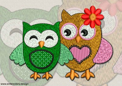 This Owls in love design was digitized and embroidered by www.embroidery.design.