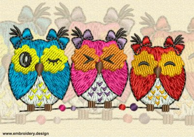 This Owls on a perch design was digitized and embroidered by www.embroidery.design.