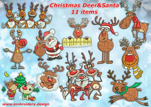 This Pack of Christmas deer with Santa design was digitized and embroidered by www.embroidery.design.