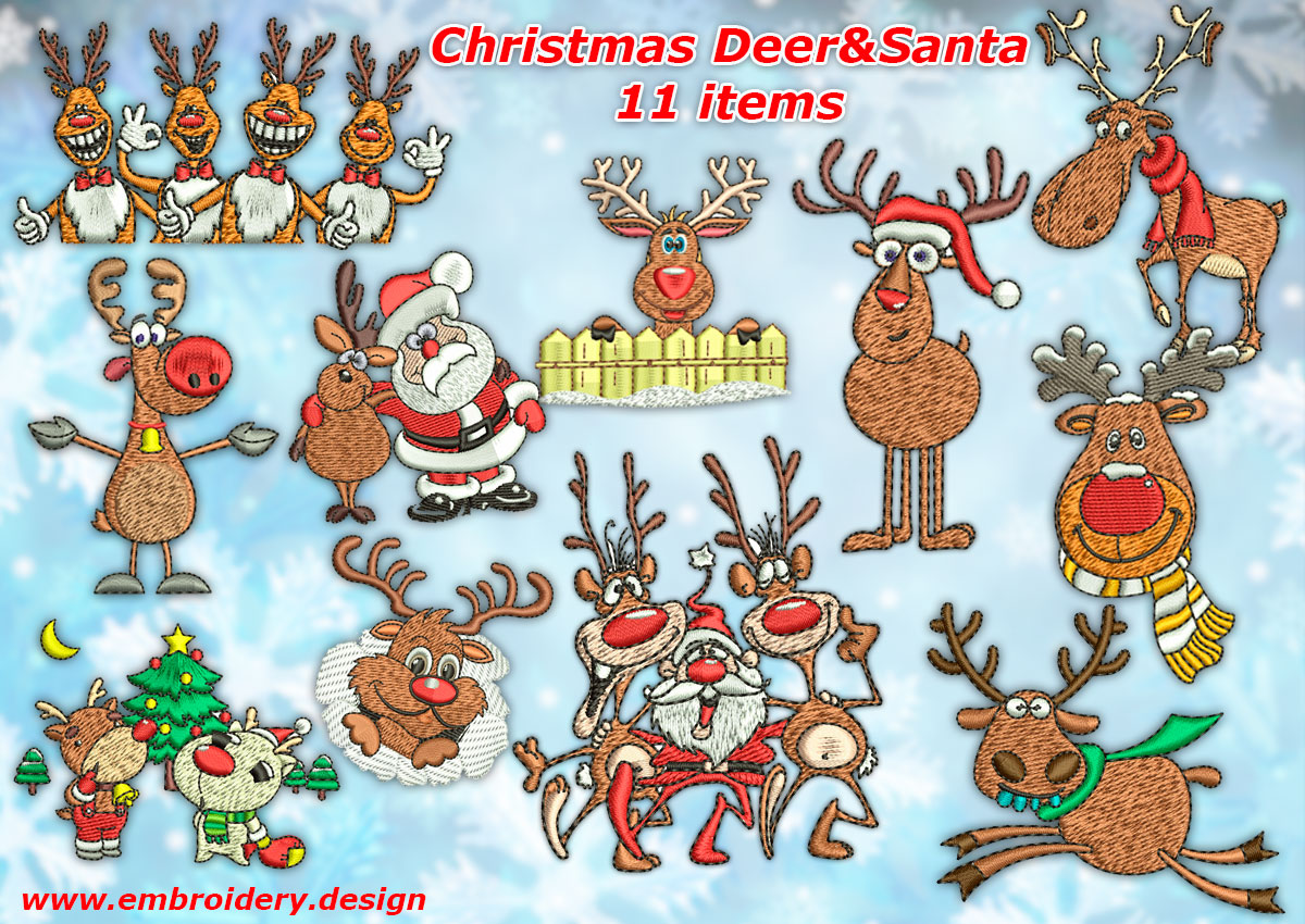 pack of christmas deer with santa embroidery designs pack