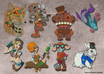 This Pack of steampunk heroes design was digitized and embroidered by www.embroidery.design.