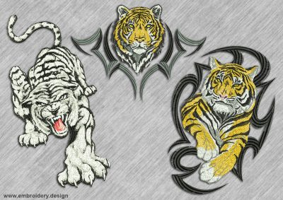 This Pack of tigers design was digitized and embroidered by www.embroidery.design.