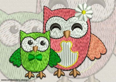 This Pair of owls design was digitized and embroidered by www.embroidery.design.